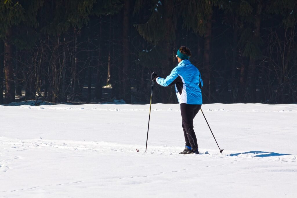 cross country skiing, woman, fitness
